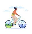 urban and natural cycling happy woman ride vector image vector image