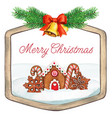 watercolor wooden frame with bells gingerbread vector image vector image