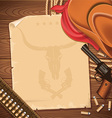 Wild west background with cowboy hat and revolver vector image vector image