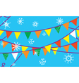Christmas seamless border with flags vector image