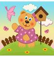 bear girl feeding birds vector image