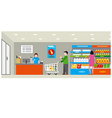 supermarket with shopping vector image