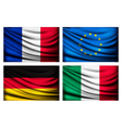 Four flags - EU Italy France Germany vector image