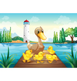 A mother duck with four baby ducks in the wooden vector image vector image