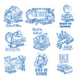 back to school ink pen sketch icons vector image
