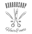 barbershop scissors and razor blades hair and vector image vector image
