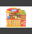 beach bar in tropical style design with smiling vector image vector image