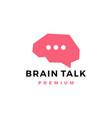 brain talk chat bubble think logo icon vector image