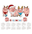 calendar 2019 pigs in christmas costumes vector image