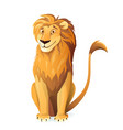 cartoon lion sitting cute and friendly character vector image vector image