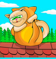 cats cuddling on roof vector image vector image