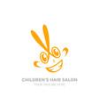 childrens hair salon logo funny logo vector image vector image