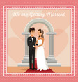 colorful gretting card with couple groom and bride vector image vector image