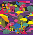 colorful seamless pattern with mushrooms on a vector image