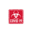 covid19-19 virus biohazard sign with grunge vector image