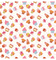 Cute seamless pattern with cupcakes Birthday party vector image vector image