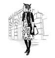 fashion hipster owl on city background vector image vector image