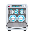 flat freestanding dishwasher dishwashing machine vector image