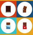 flat icon sweet set of bitter chocolate dessert vector image vector image