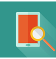 Flat tablet over green vector image vector image