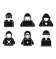 hacker man icons set simple style vector image vector image