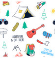 hand drawing camping elements vector image vector image