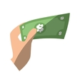 hand hold mobey bill dollar flat icon vector image