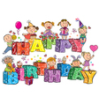 Happy Birthday kids on letters vector image vector image