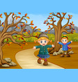 happy kids playing in the autumn park vector image vector image