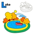 Lake Coloring book page Cartoon vector image