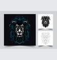 lion dark artwork vector image vector image