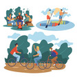 male friends pastime at nature and summer sport vector image