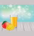 mango juice on wooden table vector image