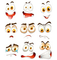 Many type of facial expressions vector image vector image