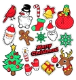 Merry Christmas Badges Patches Stickers vector image vector image