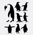 Penguin bird animal silhouettes vector image