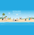 people cleaning garbage on beach area vector image vector image