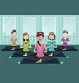 people doing yoga in a yoga studio vector image vector image