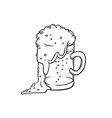 pint tumbler of beer isolated color sketch vector image vector image