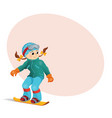 pretty girl snowboarding downhill place for text vector image vector image
