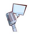 retro microphone and square bubble icon colorful vector image vector image