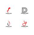 set initial letter d logo design template vector image