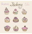 Set of Hand drawn color cakes vector image