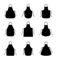 set of silhouettes of aprons vector image