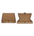 set two cardboard pizza boxes objects vector image vector image