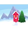 snowy scandinavian red house vector image vector image