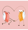 sushi food character dancing forming heart shape vector image