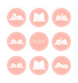 vintage icons with open books reading vector image