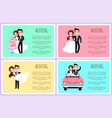 wedding ceremony and preparation posters set vector image