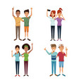white background with colorful group of friends in vector image